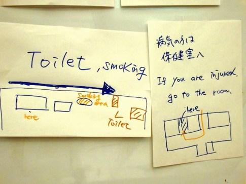 掲示板には英語やイラストでの説明も必要です