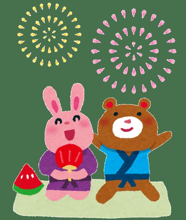 花火大会を楽しむウサギとクマのイラスト