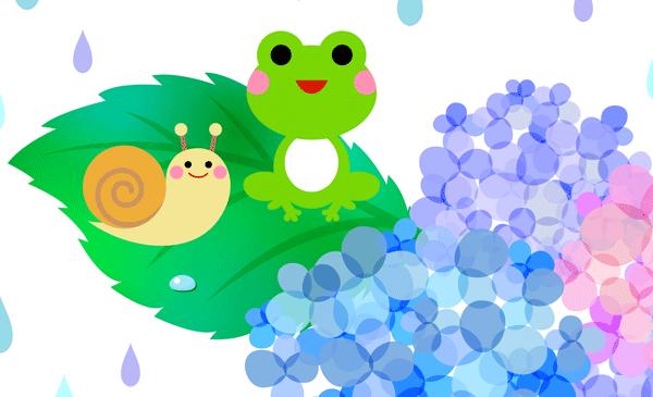 カエルとかたつむりとあじさいがかわいいイラスト