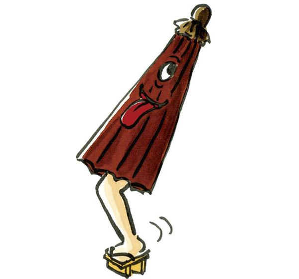 傘のお化けのイラスト