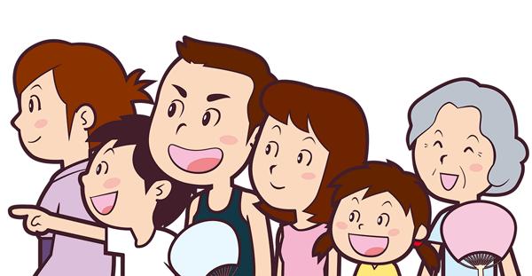 家族でお祭りを楽しんでいるイラスト