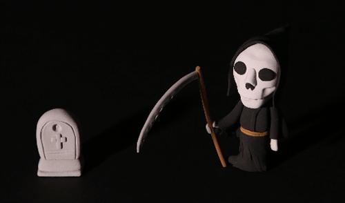 ガイコツとお墓のイラスト