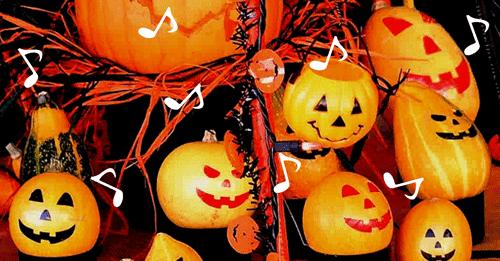ハロウィンのかぼちゃランタンが音楽のリズムに乗る画像