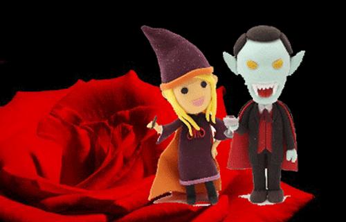 ハロウィンの魔女とドラキュラがバラの前でデートしている画像