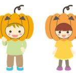 ハロウィンで子供がかぼちゃに仮装しているイラスト