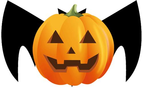 ハロウィンのかぼちゃとコウモリのイラスト