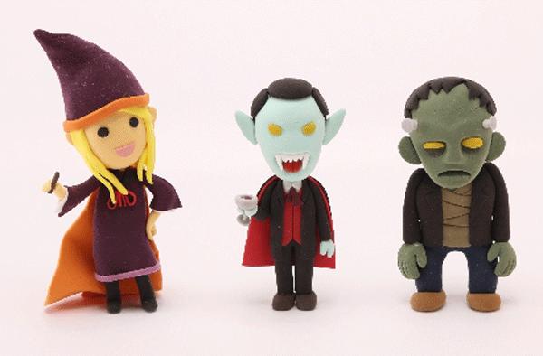 ハロウィンの魔女とドラキュラとフランケン