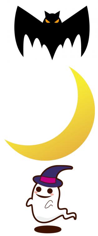 ハロウィンのコウモリとお化けと月のセットイラスト