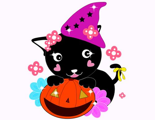 ハロウィンの黒猫がかぼちゃと一緒に仮装している画像