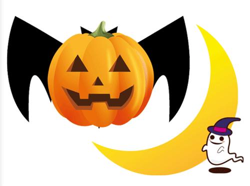 ハロウィンのかぼちゃコウモリとお化けと月のイラスト