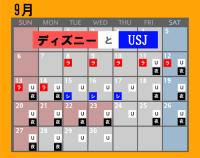 ディズニーとUSJのカレンダー