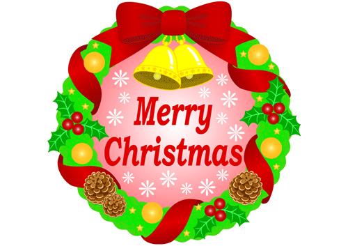 クリスマスのリースのイラスト