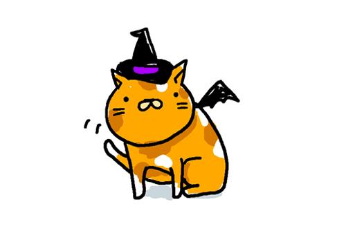 ハロウィンのかわいい猫のイラスト