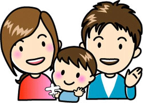 赤ちゃんとの家族イラスト