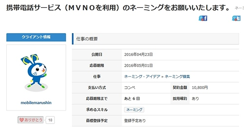 新MVNOの名称募集 クラウドワークスにて
