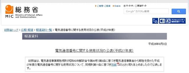 スマホ電話番号の利用状況について(総務省調べ)トップ画像