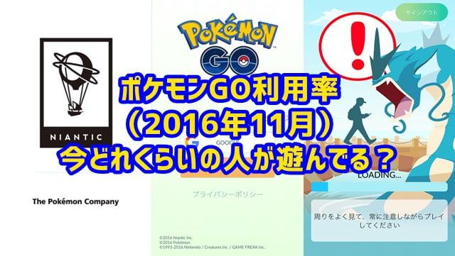 ポケモンGO利用者、7月の配信当初に比べ2割減に(2016年11月時点)トップ画像