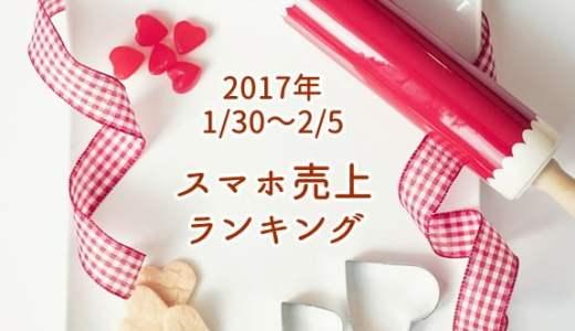 2017/1/30~2/5 スマホ売上ランキング Y!mobileがトップ10に3機種ランクイン!