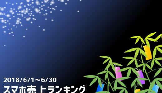 2018/6 スマホ売上ランキング P20 lite発売&初登場で4位にランクイン!
