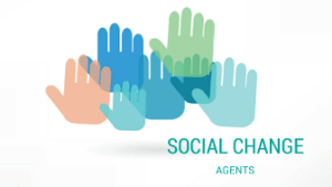 Hands reaching out to represent social change