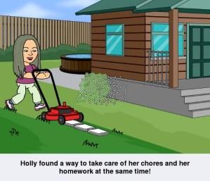 cartoon of woman cutting grass