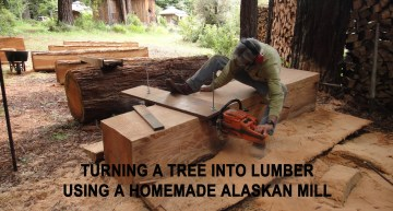 How To Turn a Tree into Lumber using a Homemade Alaskan Mill