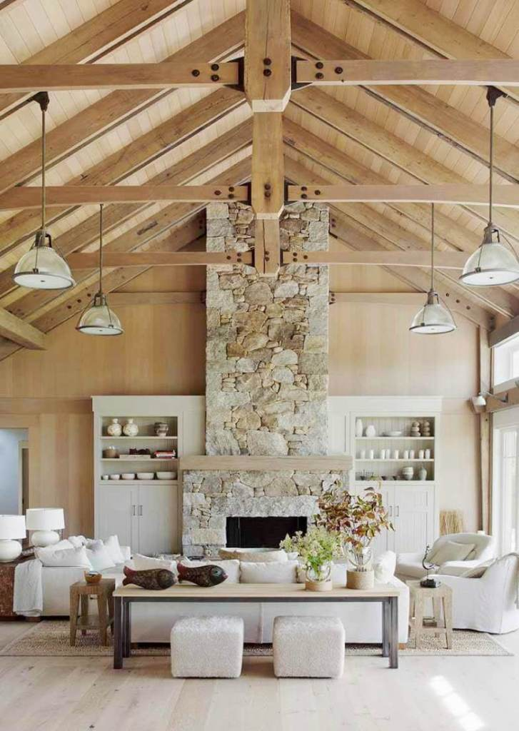 Stone-fireplace-Vaulted-ceilings-barn-style-great-room-living-room-cococozy