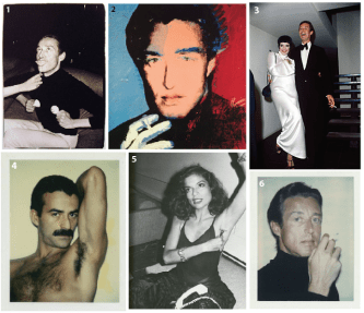 1. Halston photo by Warhol, 1980 from the Halston at Home series 2. Warhol silkscreen canvas of Halston, 1978 3. Halston and Liza in the first floor entry hall - (hall staircase behind them) at a 1975 party he gave for her 4. Warhol polaroid of Victor Hugo 5. Bianca Jagger photo by Warhol, 1980 from the Halston at Home series 6. Halston polaroid by Warhol