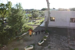La mestra acompanyant a cinc dels seus nens cap al lloc de recollida pels pares.