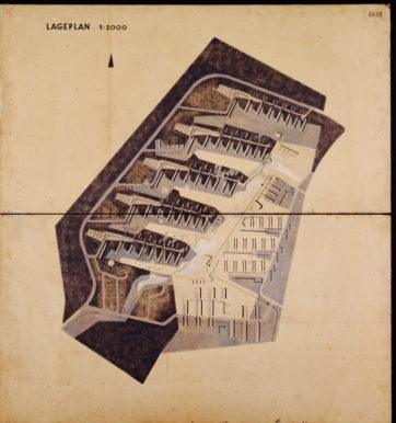 """Lageplan des Wettbewerbsentwurfs der Waldstadt von Karl Selg von 1956/57, der """"Urplan"""", welcher der Ausführung zugrunde gelegt wurde (saai am KIT, Werkarchiv Karl Selg)"""