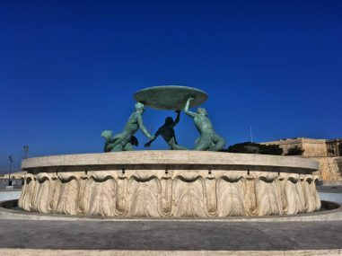 The fountain just outside of the old city of Valletta in Malta