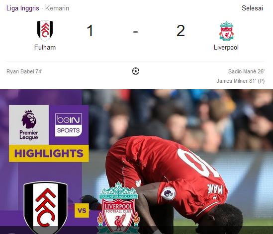 Liverpool Berhasil Kalahkan Fulham Di Liga Inggris 2019