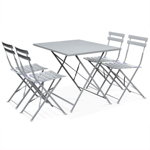 table de jardin bistrot pliable en metal emilia 110