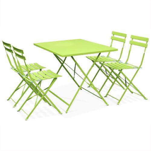 table de jardin bistrot pliable en metal emilia 110