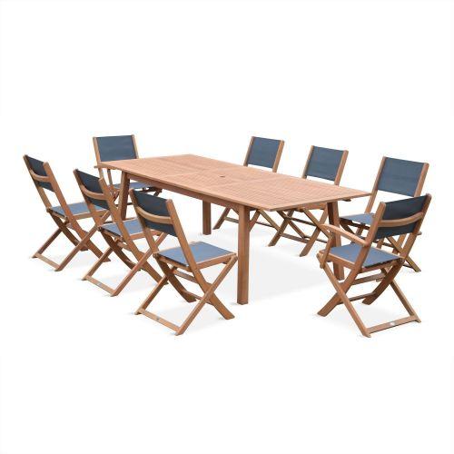 table de jardin 8 chaises en bois almeria 240