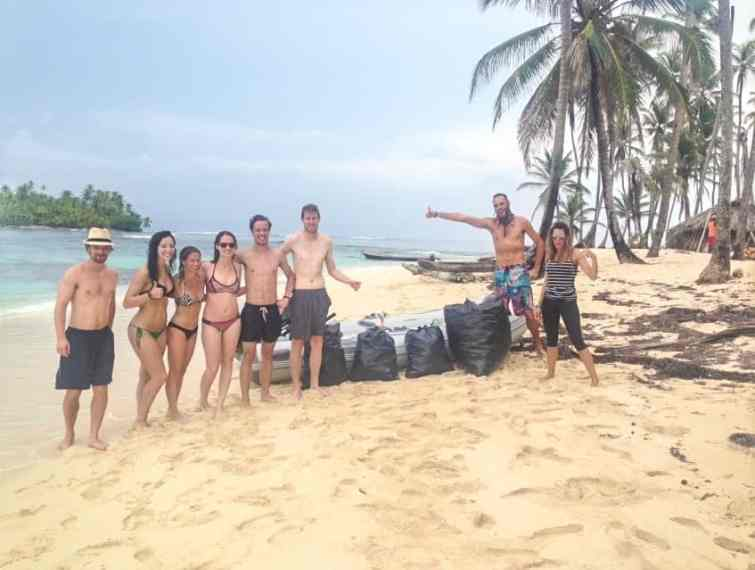 cleaning up garbage on the san blas