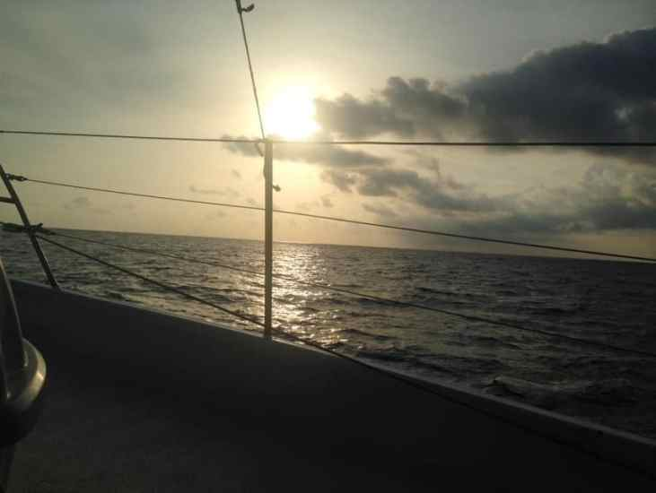 sunset on the boat to the san blas islands