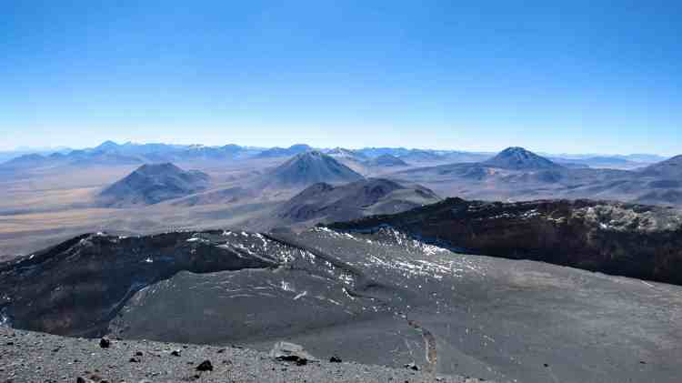 view from Lascar Volcano summit