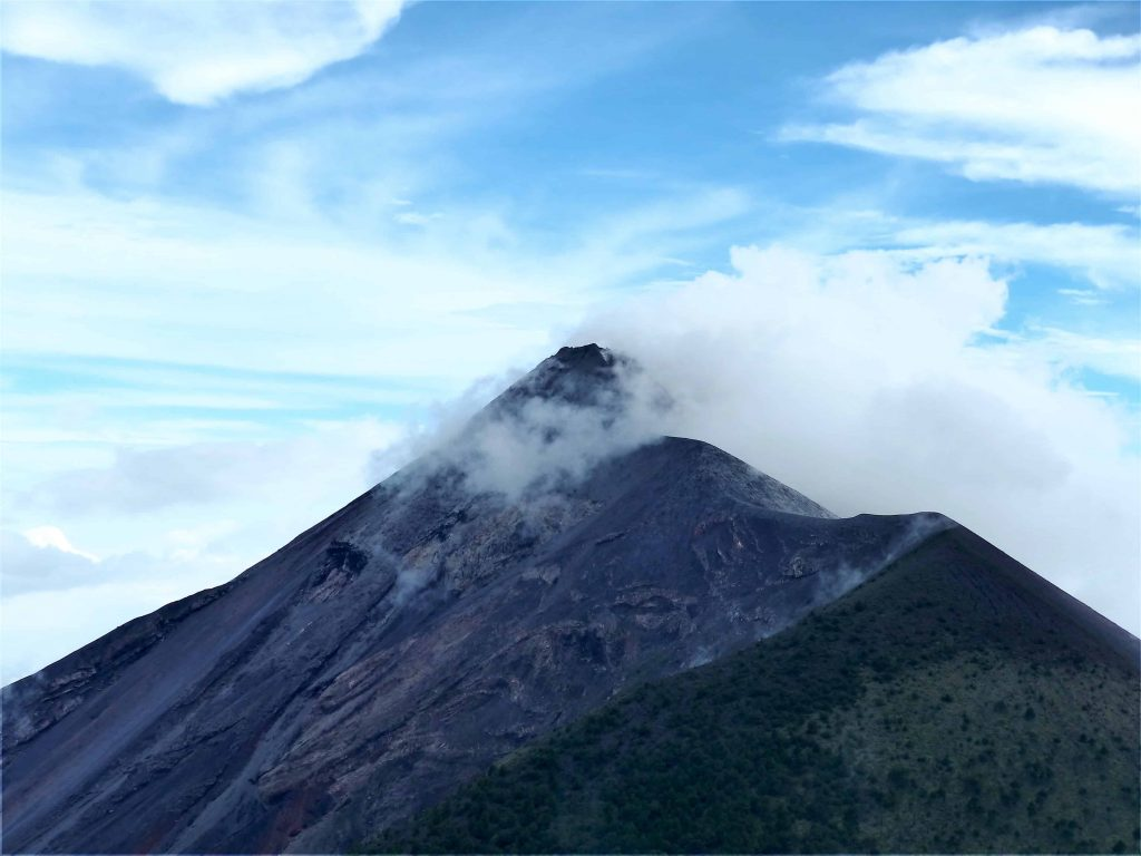 Volcano fuego erupting