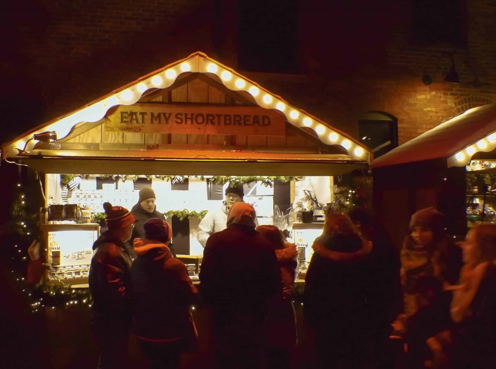 Stalls at the Toronto Christmas Market one of the places to spend christmas in ontario