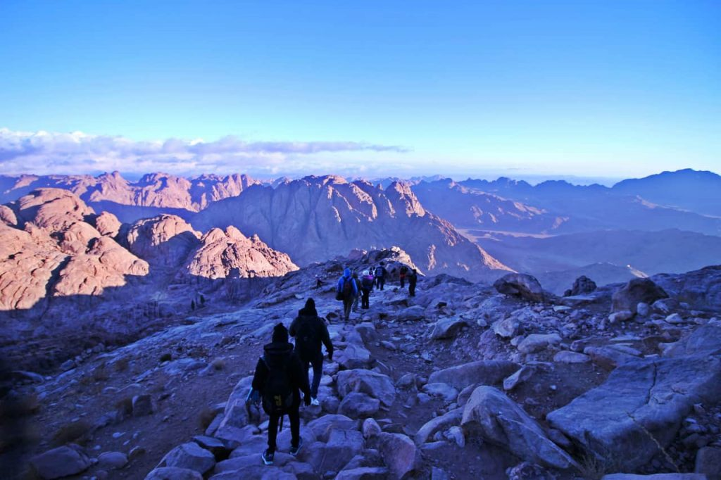 hiking down mount Sinai in Egypt
