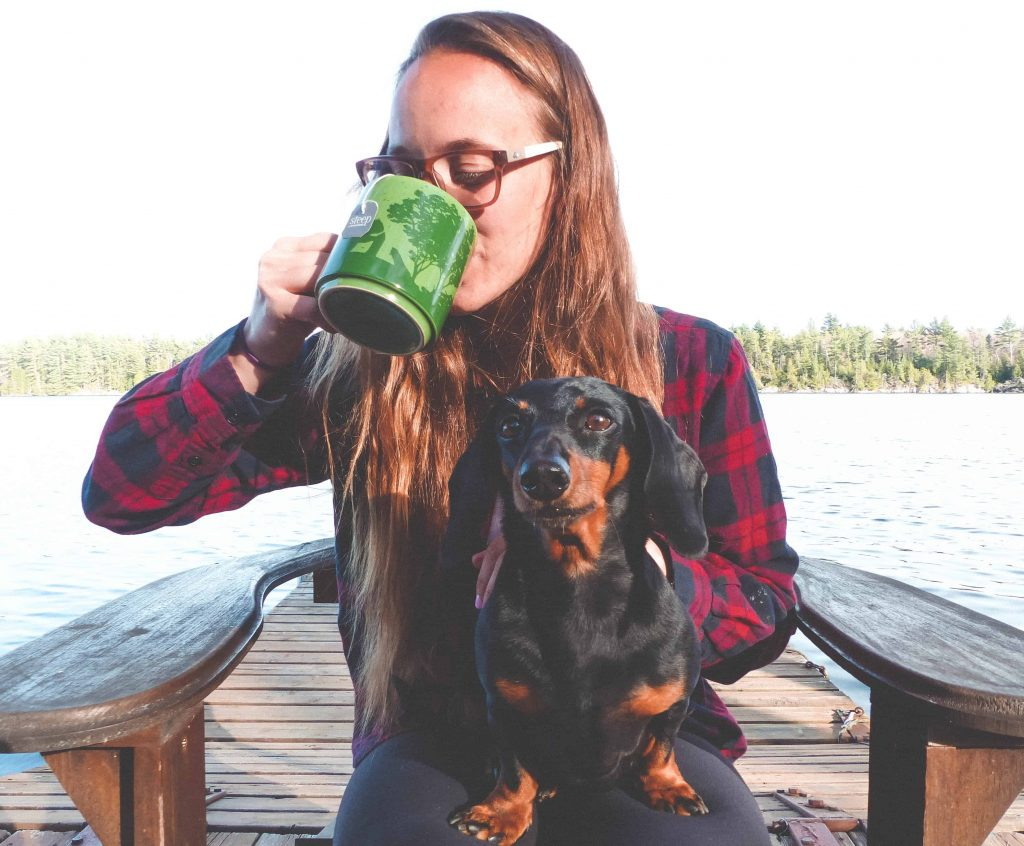 hanging out on the dock drinking bigelow steep tea with my dog #teaproudly #victoriaday