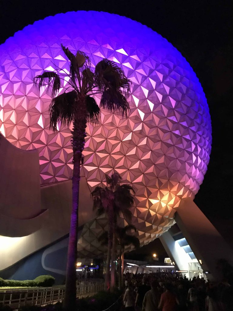 the Epcot globe at night time walking out late
