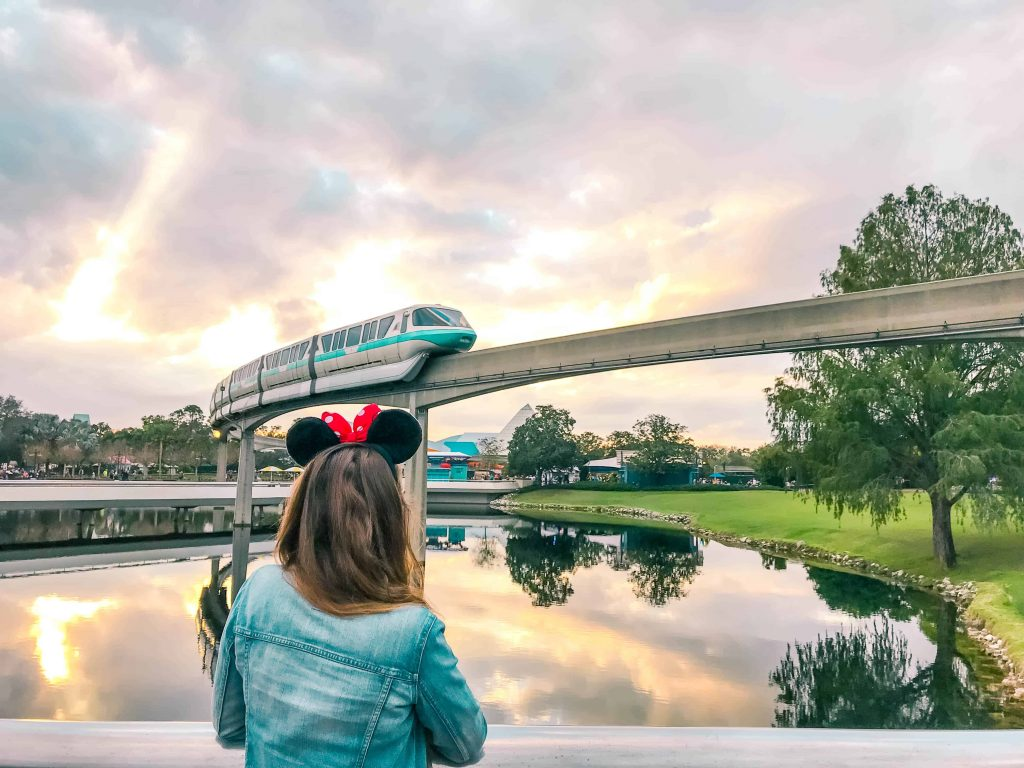 the epcot monorail between rides
