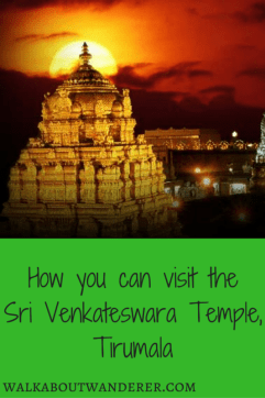 My visit to Sri Venkateswara Temple as a foreigner and how you can do it too by Walkabout Wanderer. Keywords: Sri Venkateswara Temple, India, Tirumala, Tirupati, travel blogger, tourist.