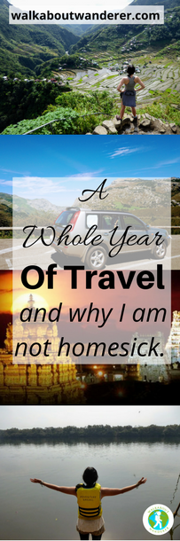 A Whole Year Of Travel by Walkabout Wanderer Keywords: solo female travel, homesick, travelling the world, backpacking Blogger