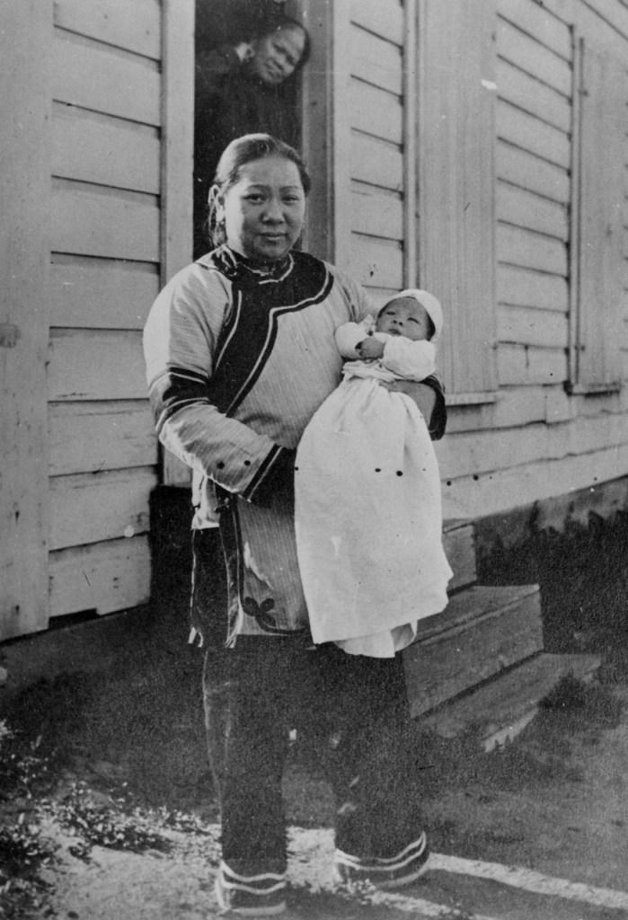 Mrs. Wah Chung with baby, Ashland Chinese, Ashland