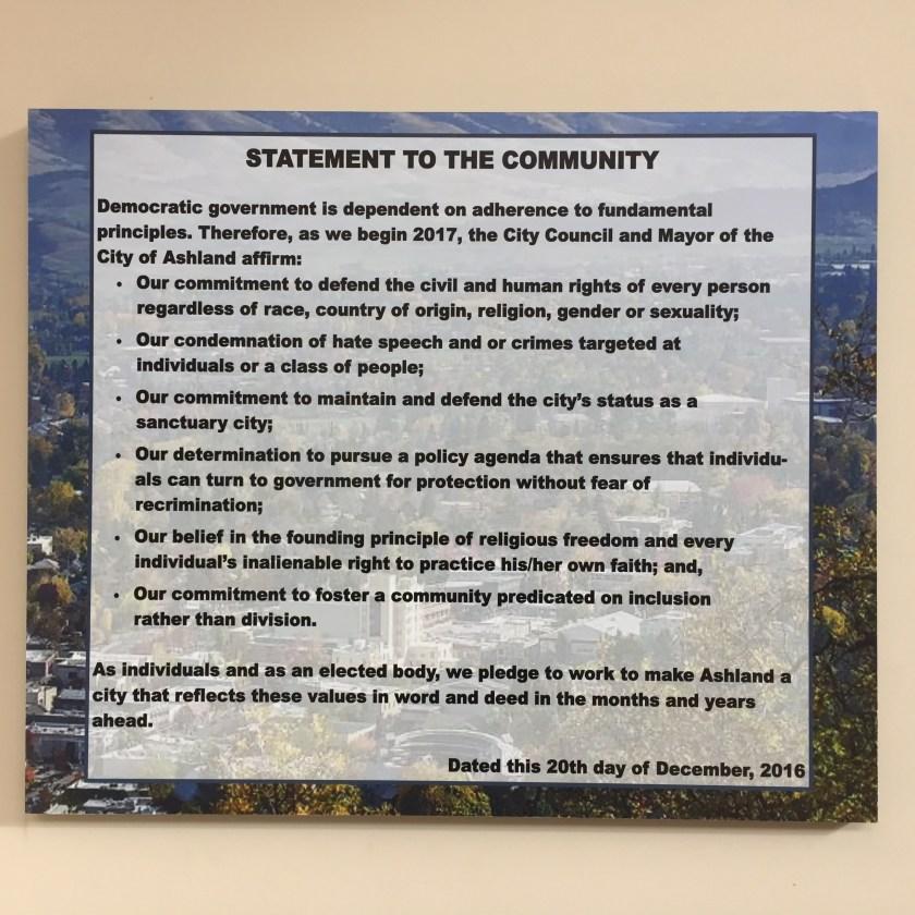 City Council pledge sign
