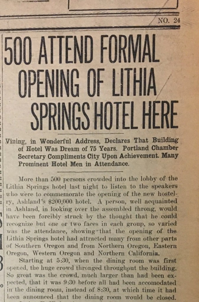 Lithia Springs Hotel 1925 Grand Opening