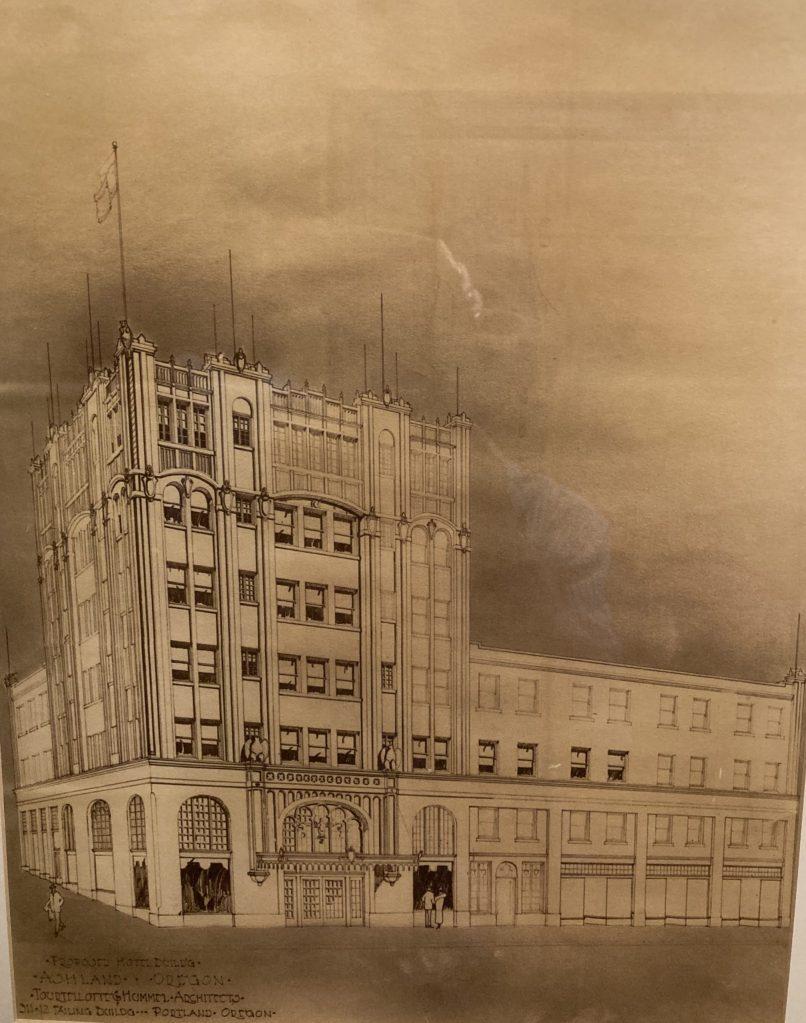 Ashland Springs Hotel, original 6-story drawing c1924 for Lithia Springs Hotel